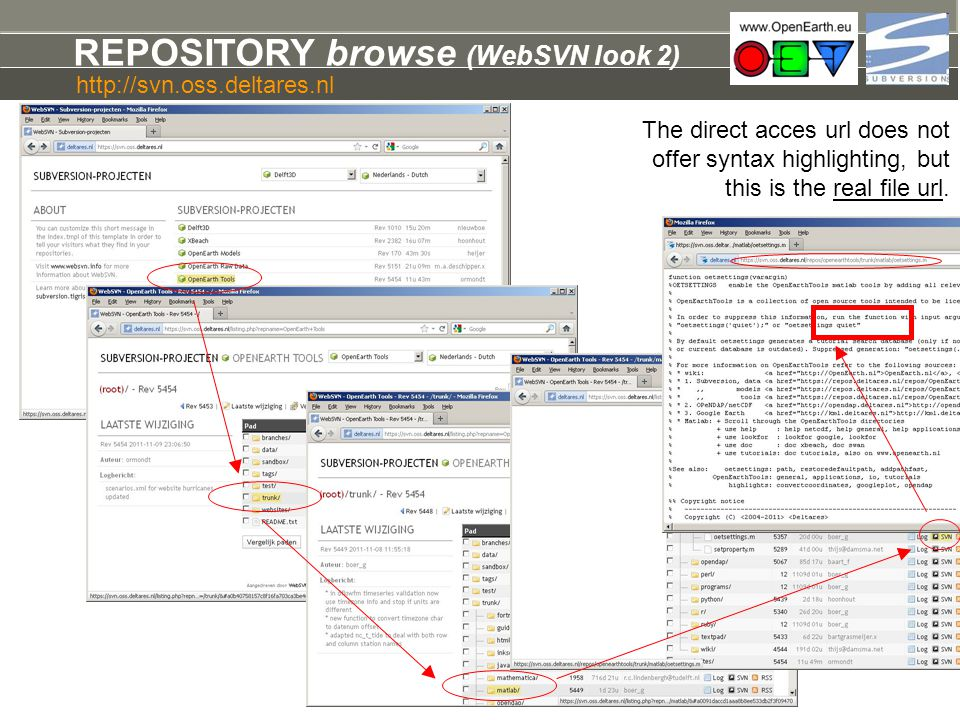 REPOSITORY browse (WebSVN look 2) The direct acces url does not offer syntax highlighting, but this is the real file url. http://svn.oss.deltares.nl