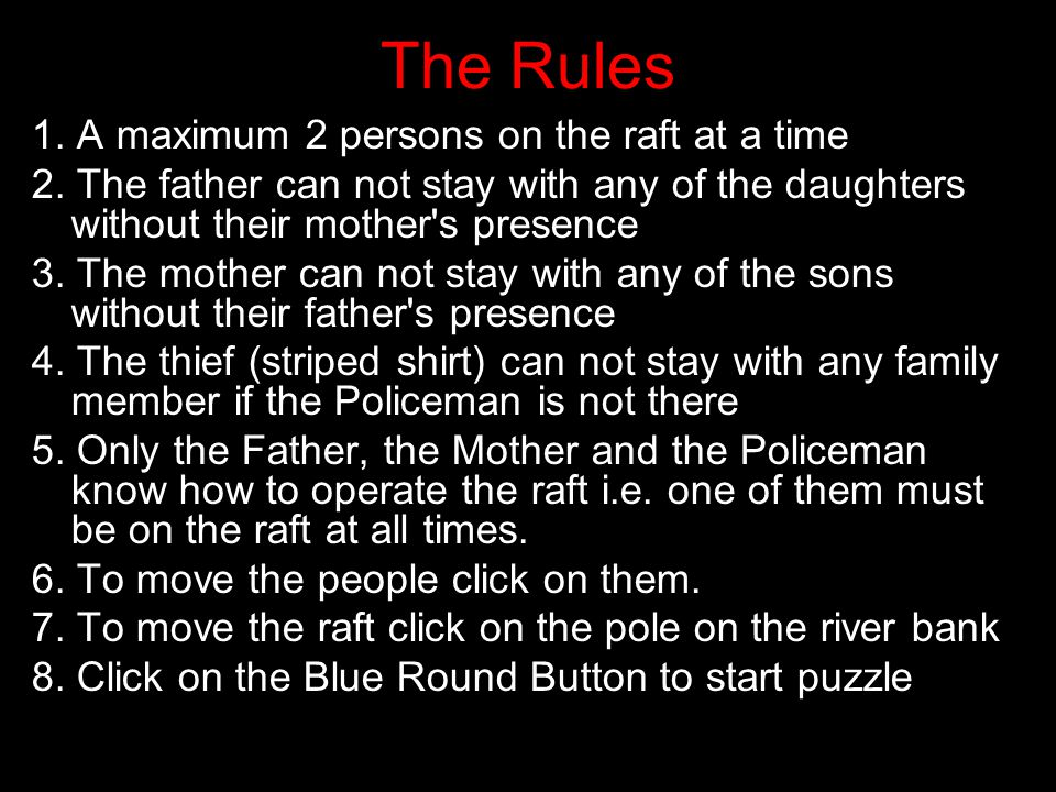 1.A maximum 2 persons on the raft at a time 2.