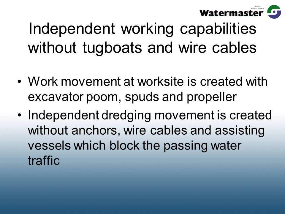 Independent working capabilities without tugboats and wire cables Work movement at worksite is created with excavator poom, spuds and propeller Indepe