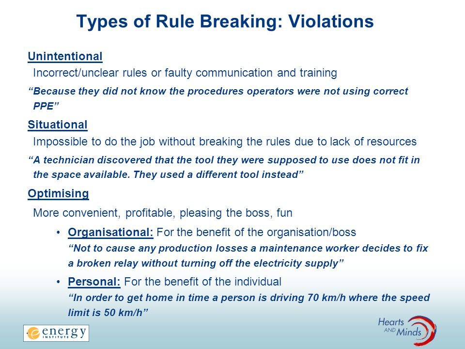 Types of Rule Breaking: Special Violations Reckless Optimising Violation A rule was violated without thinking or caring about the consequences Drunk Driving Routine Any violation that has become the normal way of doing things Crossing the street on the red light whenever there are no cars Exceptional Novel, extreme situations for which there is no guidance A man dies while trying to save a child