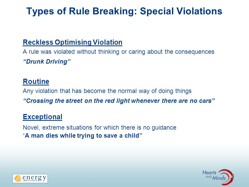 Types of Rule Breaking: Special Violations Reckless Optimising Violation A rule was violated without thinking or caring about the consequences Drunk D