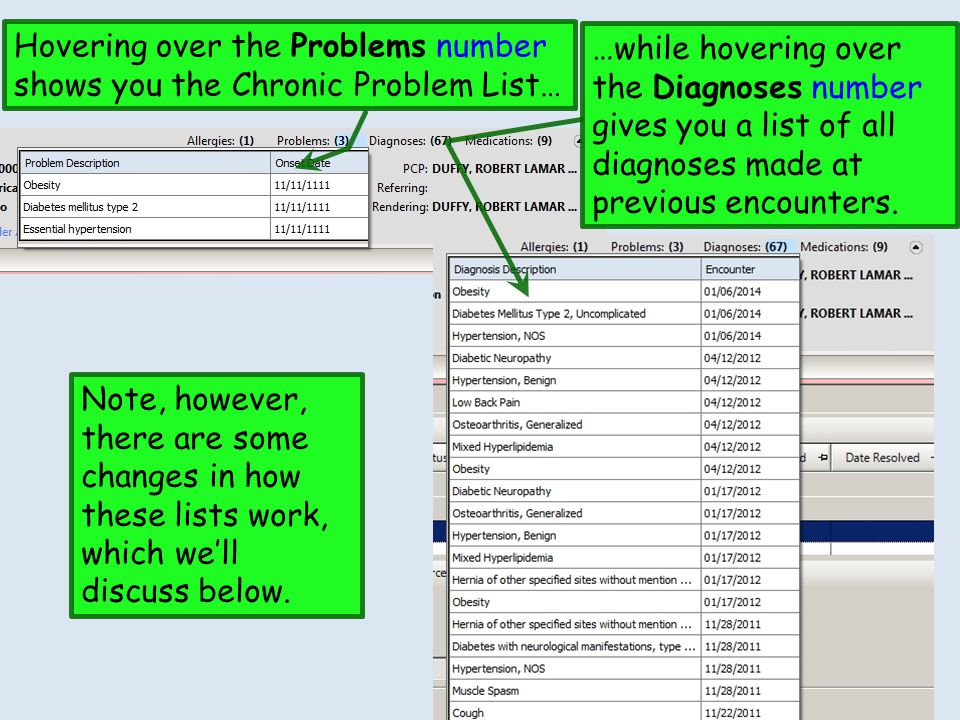 Hovering over the Problems number shows you the Chronic Problem List… …while hovering over the Diagnoses number gives you a list of all diagnoses made