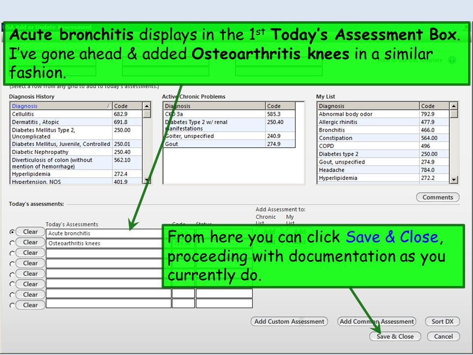 Acute bronchitis displays in the 1 st Todays Assessment Box. Ive gone ahead & added Osteoarthritis knees in a similar fashion. From here you can click