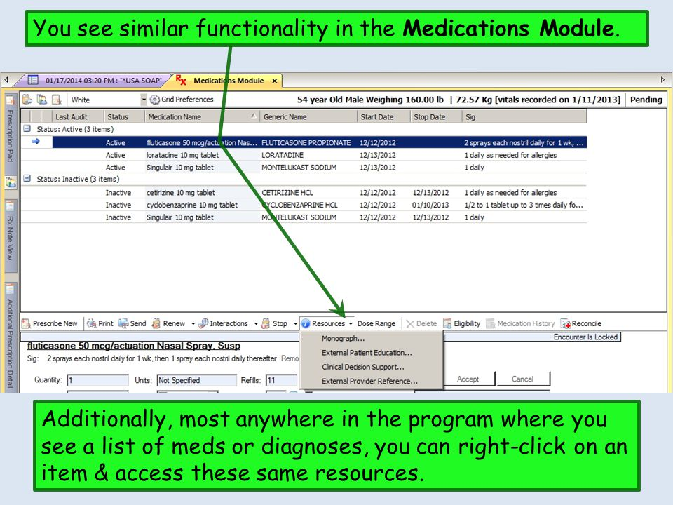 You see similar functionality in the Medications Module. Additionally, most anywhere in the program where you see a list of meds or diagnoses, you can