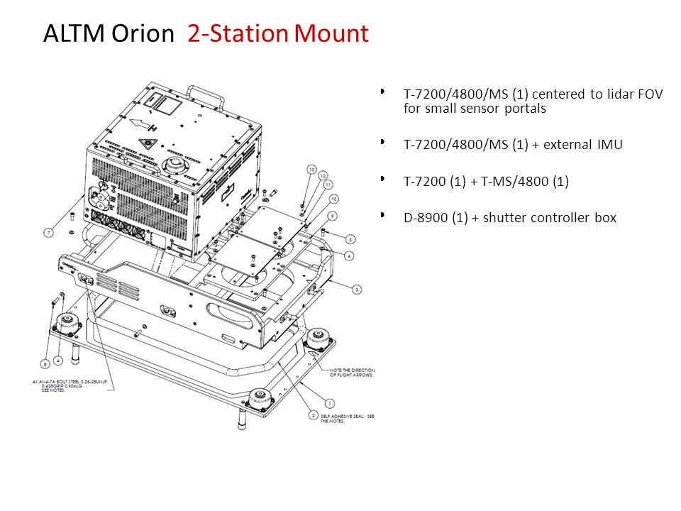 ALTM Orion 2-Station Mount T-7200/4800/MS (1) centered to lidar FOV for small sensor portals T-7200/4800/MS (1) + external IMU T-7200 (1) + T-MS/4800 (1) D-8900 (1) + shutter controller box