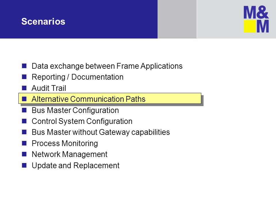 Scenarios Data exchange between Frame Applications Reporting / Documentation Audit Trail Alternative Communication Paths Bus Master Configuration Cont