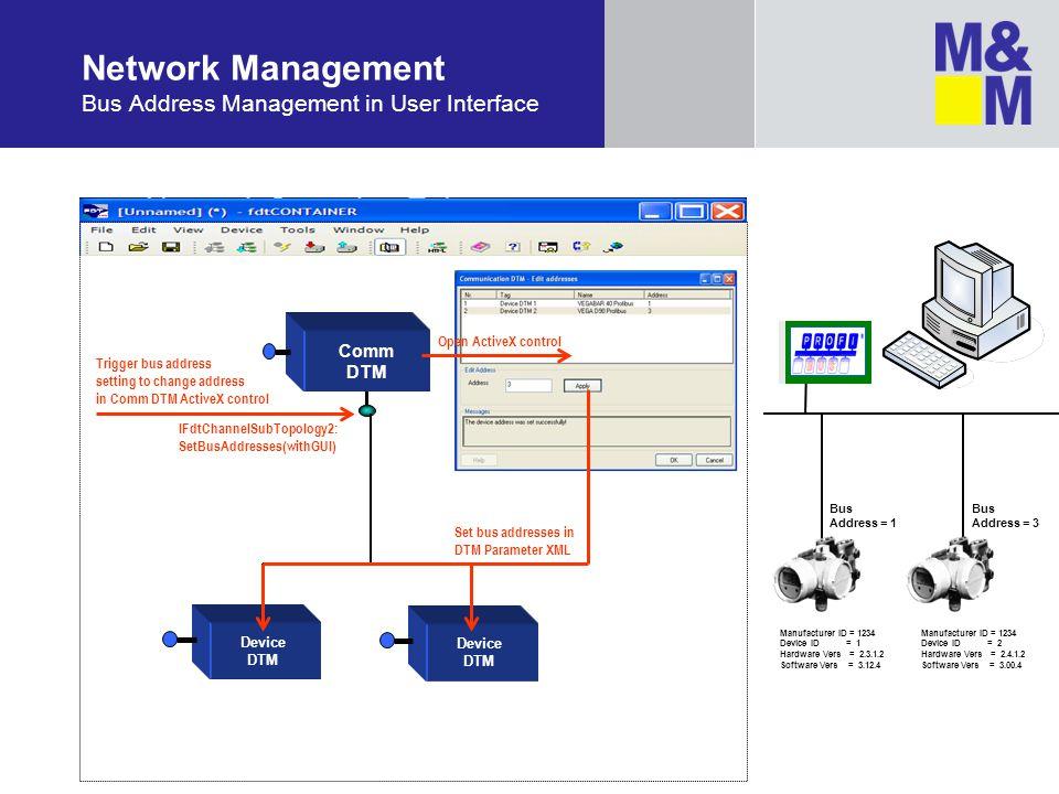 Network Management Bus Address Management in User Interface Comm DTM Bus Address = 1 Bus Address = 3 Device DTM IFdtChannelSubTopology2: SetBusAddress