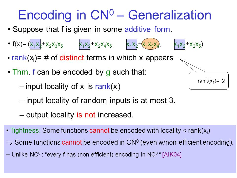 Encoding in CN 0 – Generalization rank(x 1 )= 2 Suppose that f is given in some additive form. f(x)= (x 1 x 2 +x 2 x 3 x 5, x 1 x 2 +x 2 x 4 x 5, x 1