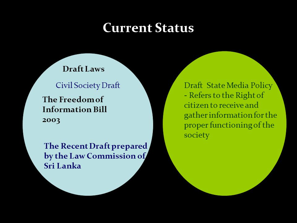 Current Status Draft Laws Civil Society Draft The Freedom of Information Bill 2003 The Recent Draft prepared by the Law Commission of Sri Lanka Draft