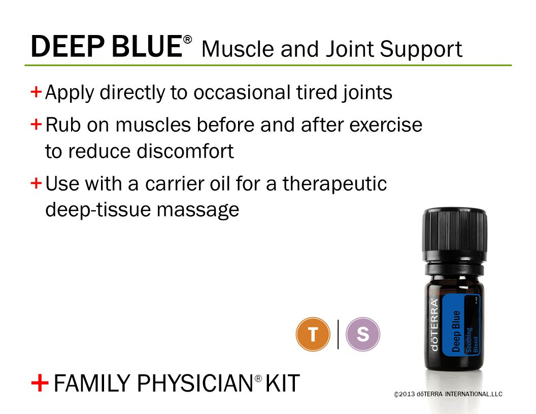 DEEP BLUE ® Muscle and Joint Support +Apply directly to occasional tired joints +Rub on muscles before and after exercise to reduce discomfort +Use wi