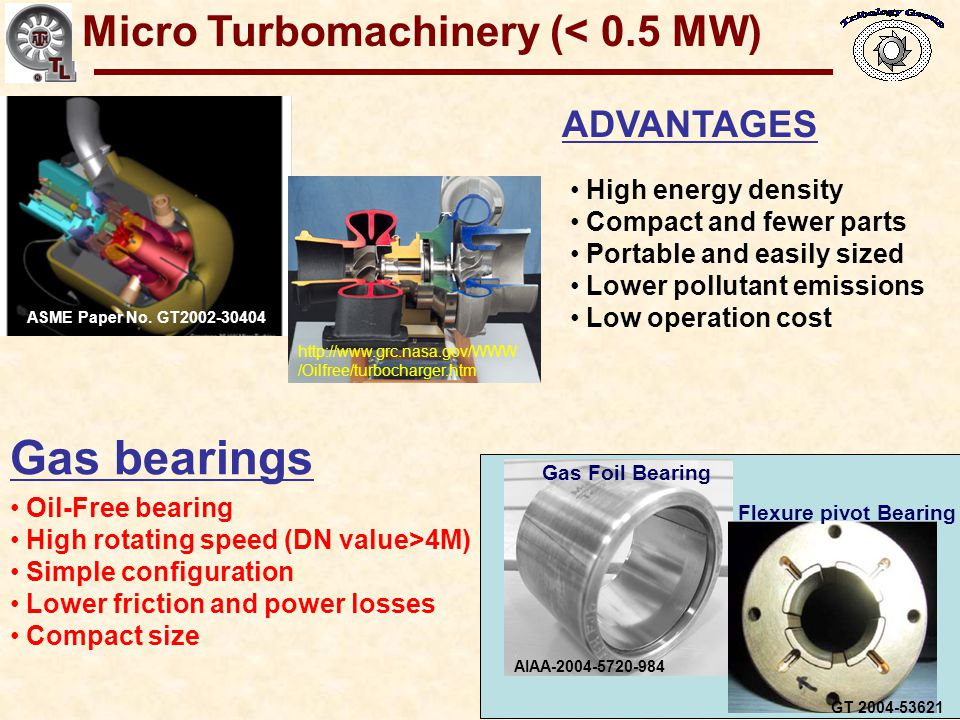 Gas Bearings for Oil-Free Turbomachinery Gas bearings for micro turbomachinery (< 0.5 MW ) must be: Simple – low cost, small geometry, low part count, constructed from common materials, manufactured with elementary methods.