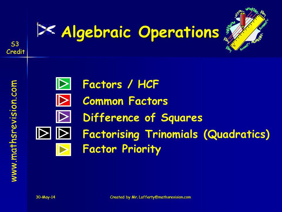 www.mathsrevision.com S3 Credit Algebraic Operations 30-May-14Created by Mr.