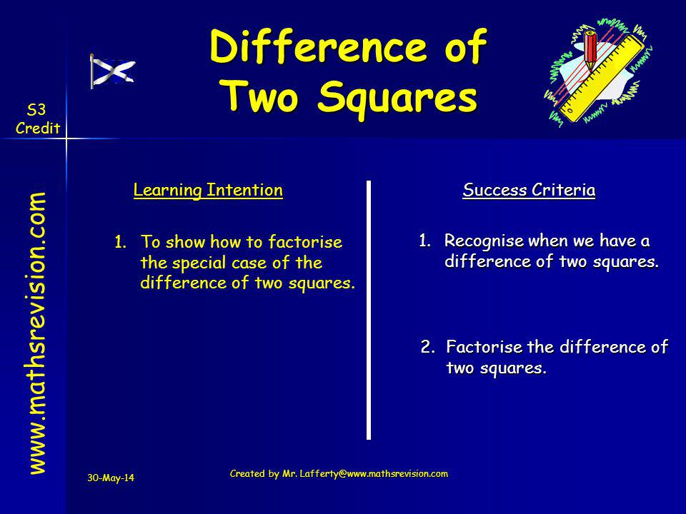 30-May-14 Created by Mr. Lafferty@www.mathsrevision.com Learning Intention Success Criteria 1.Recognise when we have a difference of two squares. 1.To