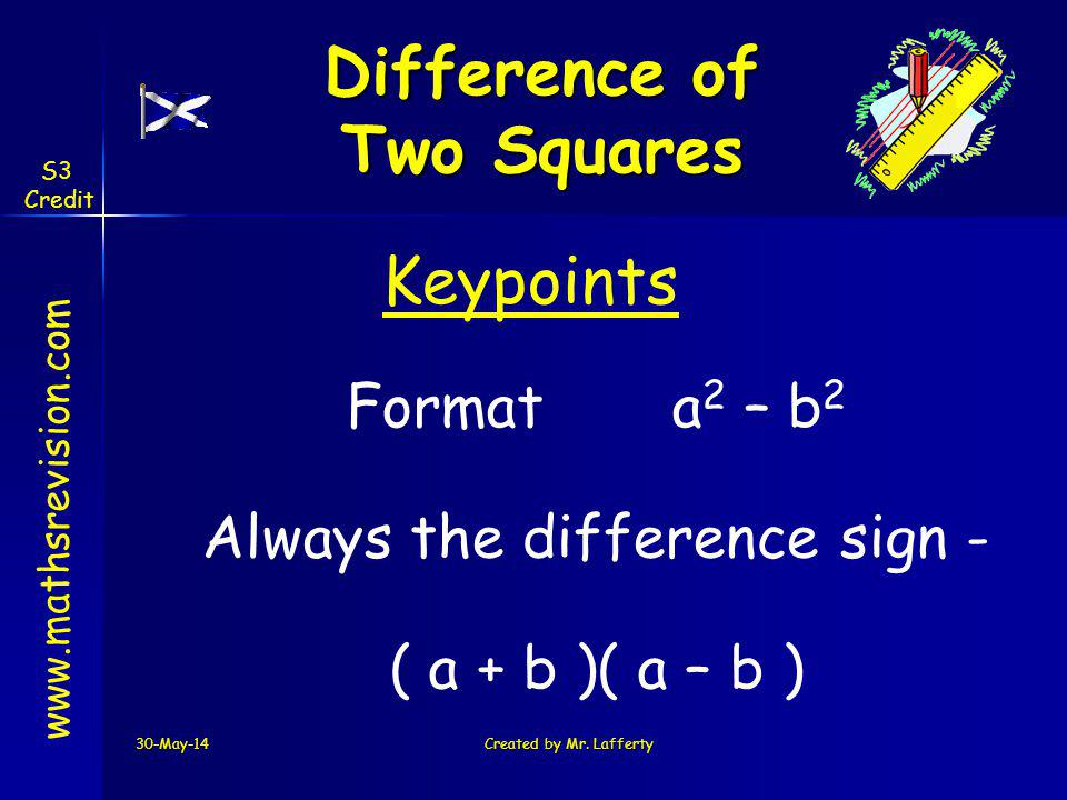 30-May-14Created by Mr. Lafferty www.mathsrevision.com Keypoints Formata 2 – b 2 Always the difference sign - ( a + b )( a – b ) Difference of Two Squ