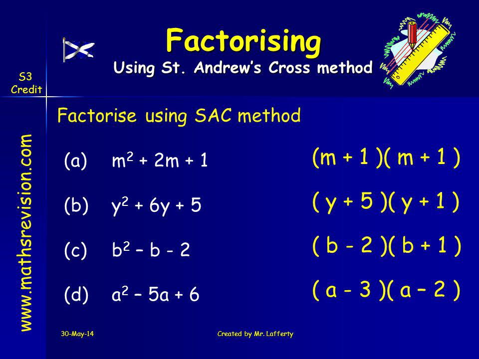 30-May-14Created by Mr. Lafferty www.mathsrevision.com Factorise using SAC method (a)m 2 + 2m + 1 (b) y 2 + 6y + 5 (c) b 2 – b - 2 (d)a 2 – 5a + 6 (m