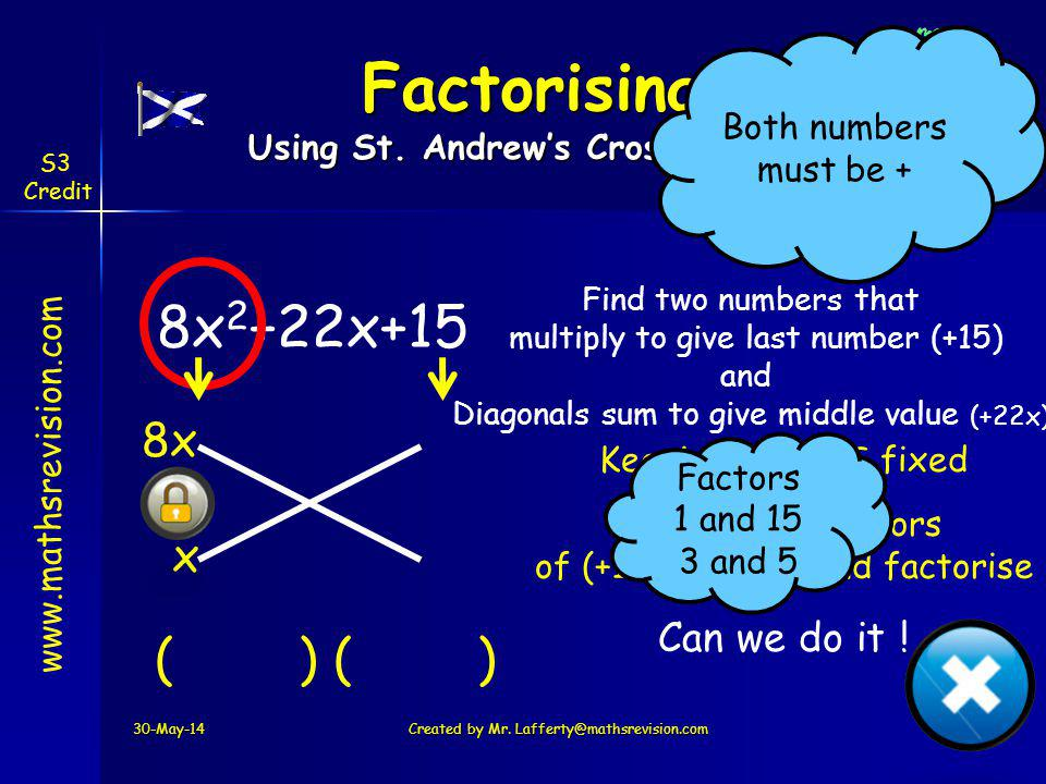 www.mathsrevision.com S3 Credit 8x 2 +22x+15 Find two numbers that multiply to give last number (+15) and Diagonals sum to give middle value (+22x) 8x