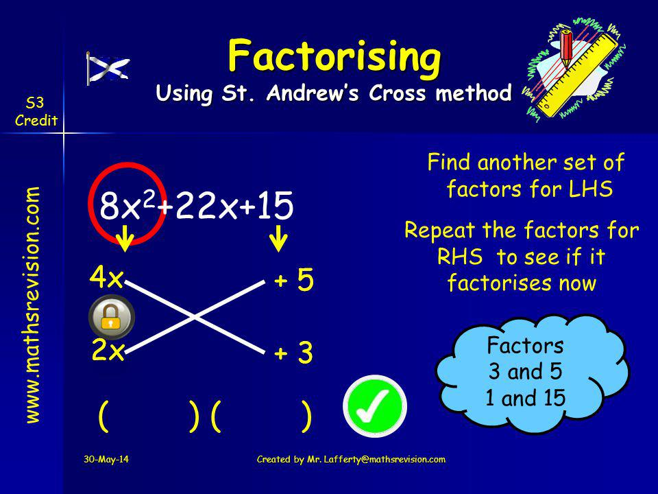 www.mathsrevision.com S3 Credit + 5 8x 2 +22x+15 4x 30-May-14Created by Mr. Lafferty@mathsrevision.com Factorising Using St. Andrews Cross method 2x (