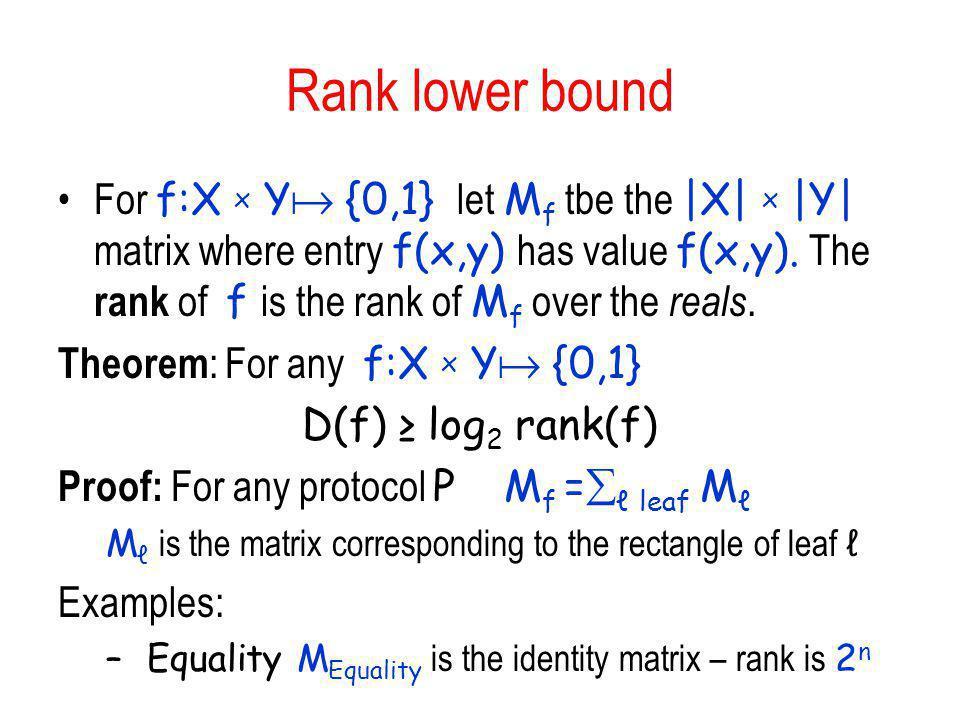 Rank lower bound For f:X x Y {0,1} let M f tbe the |X| x |Y| matrix where entry f(x,y) has value f(x,y). The rank of f is the rank of M f over the rea