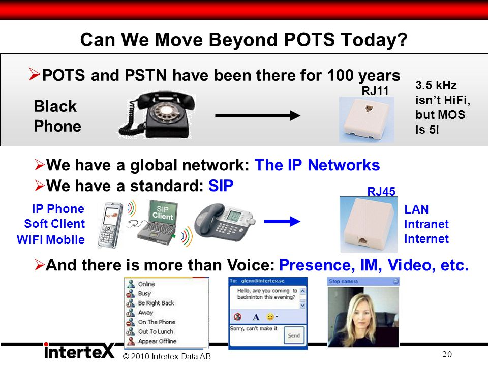 © 2010 Intertex Data AB 20 Can We Move Beyond POTS Today.