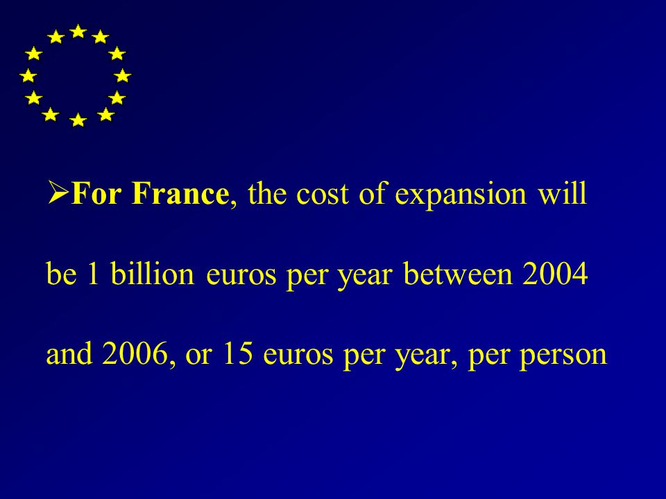 For France, the cost of expansion will be 1 billion euros per year between 2004 and 2006, or 15 euros per year, per person