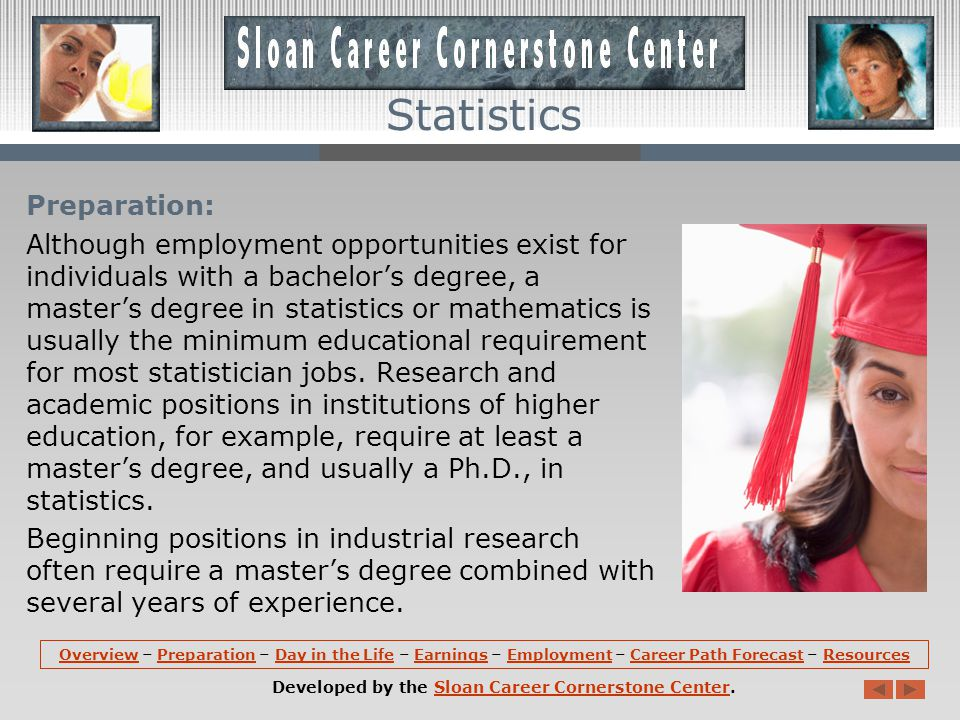 Career Path Forecast (continued): The use of statistics is widespread and growing.