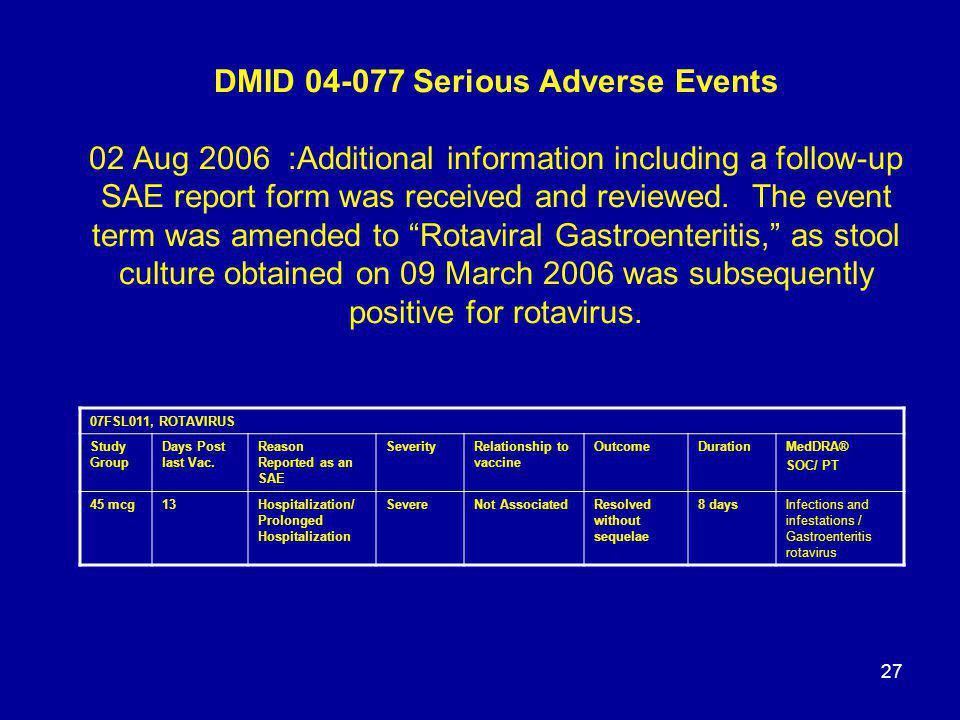 27 DMID 04-077 Serious Adverse Events 02 Aug 2006 :Additional information including a follow-up SAE report form was received and reviewed. The event t