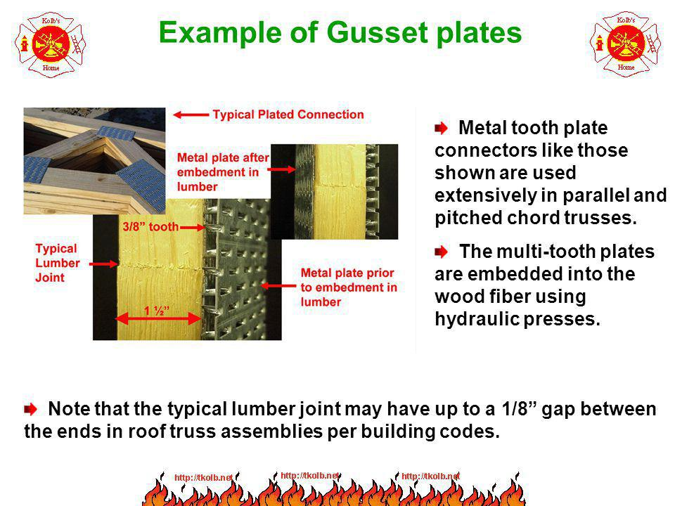 Example of Gusset plates Metal tooth plate connectors like those shown are used extensively in parallel and pitched chord trusses. The multi-tooth pla