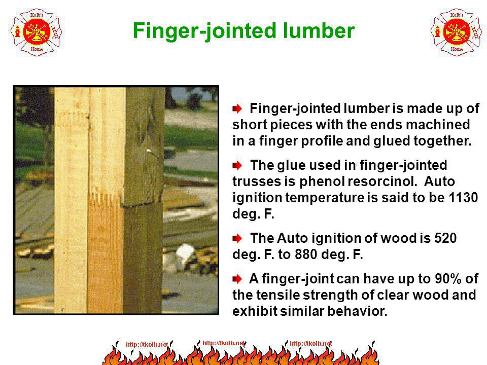 Finger-jointed lumber Finger-jointed lumber is made up of short pieces with the ends machined in a finger profile and glued together. The glue used in