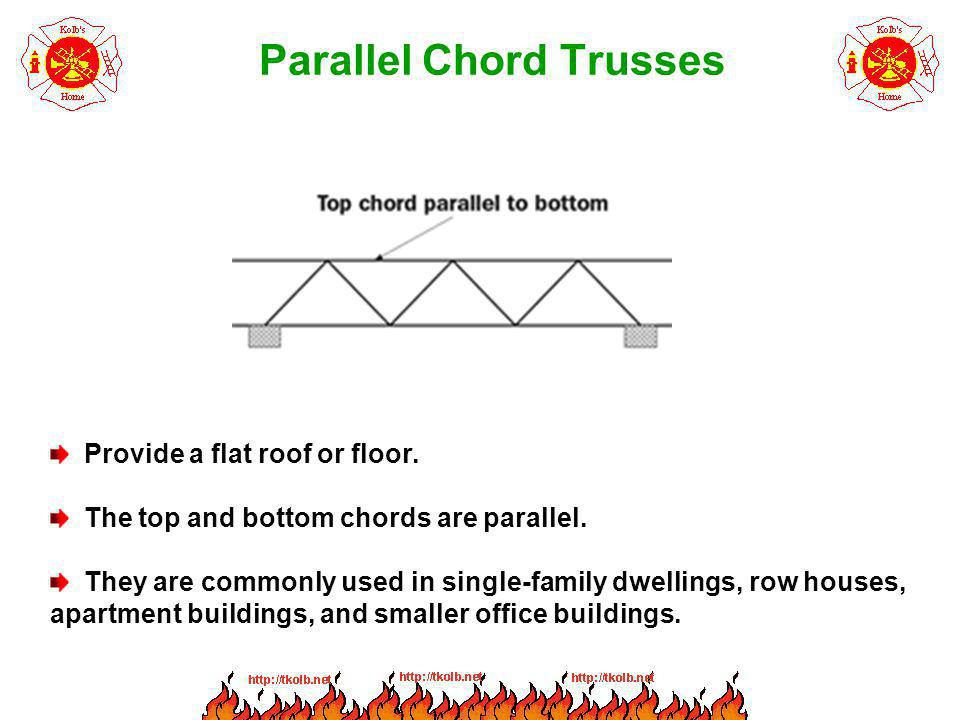 Parallel Chord Trusses Provide a flat roof or floor. The top and bottom chords are parallel. They are commonly used in single-family dwellings, row ho