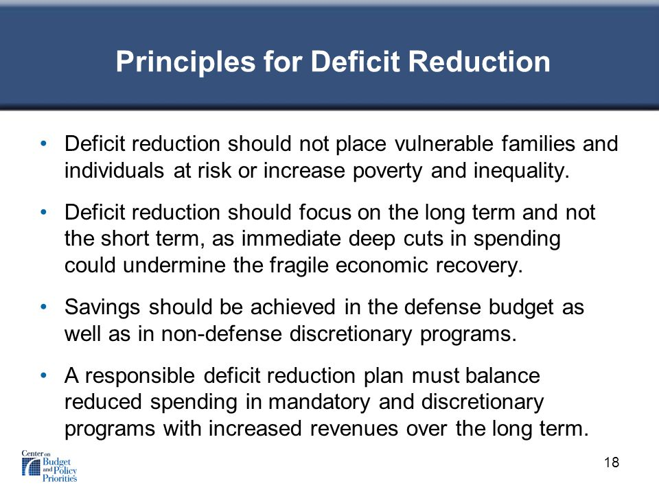 Principles for Deficit Reduction Deficit reduction should not place vulnerable families and individuals at risk or increase poverty and inequality.
