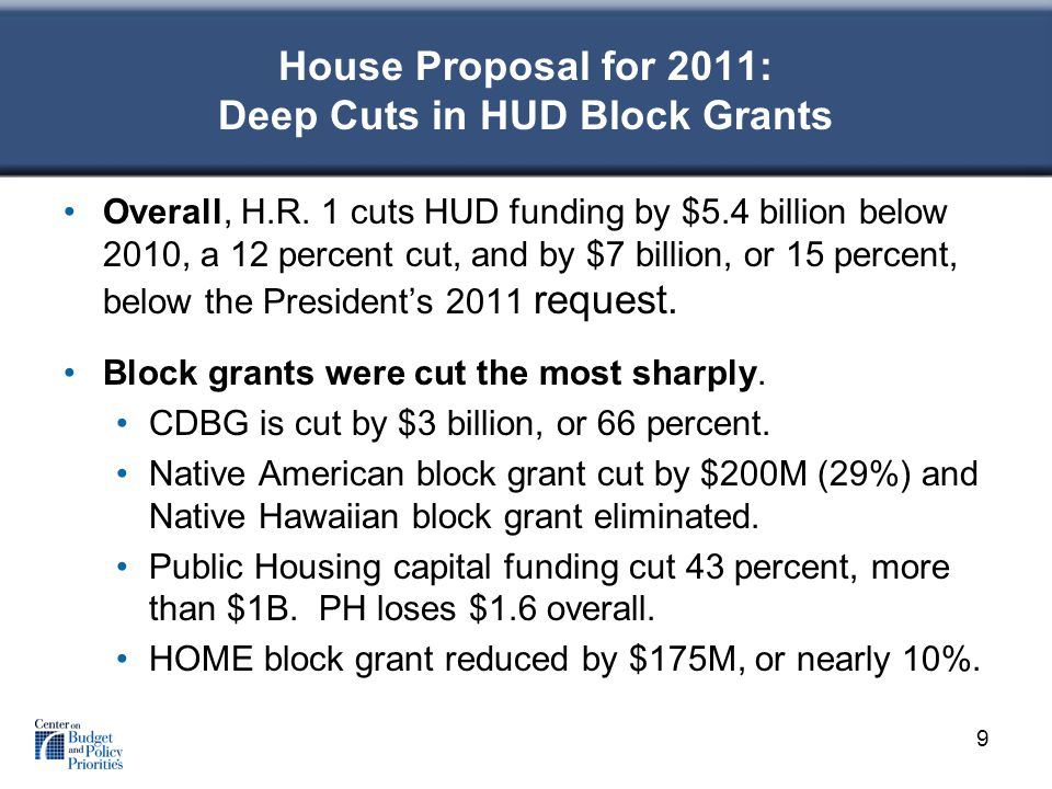 House Proposal for 2011: Deep Cuts in HUD Block Grants Overall, H.R.