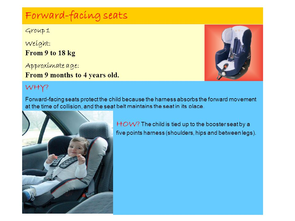 Forward-facing seats Group 1 Weight: From 9 to 18 kg Approximate age: From 9 months to 4 years old.
