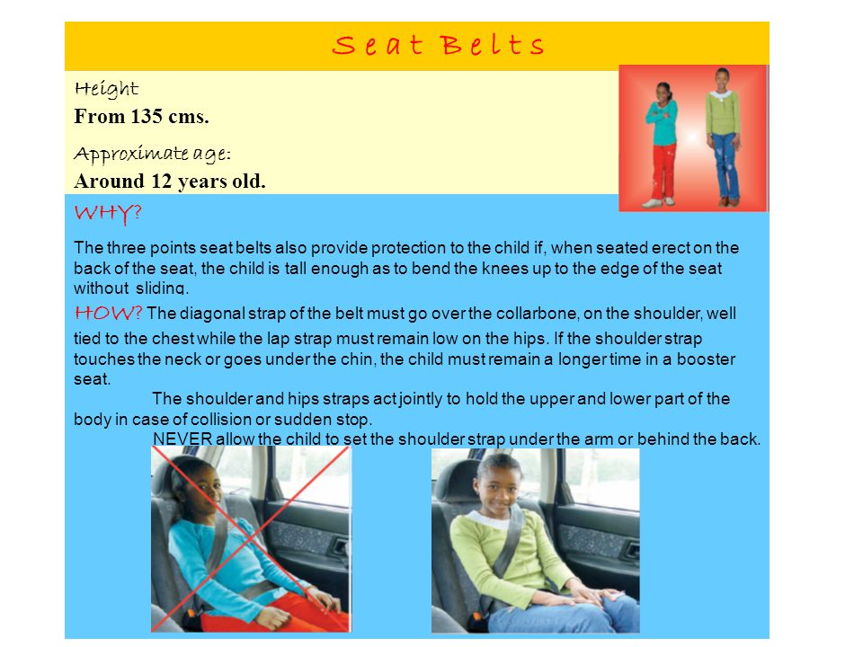 S e a t B e l t s Height From 135 cms. Approximate age: Around 12 years old. WHY? The three points seat belts also provide protection to the child if,