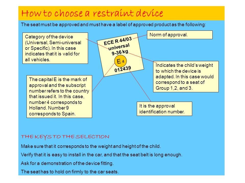 How to choose a restraint device The seat must be approved and must have a label of approved product as the following: THE KEYS TO THE SELECTION Make sure that it corresponds to the weight and height of the child.