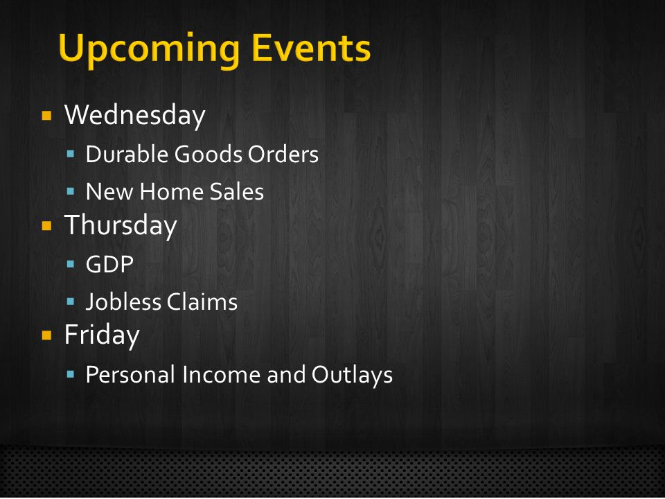 Wednesday Durable Goods Orders New Home Sales Thursday GDP Jobless Claims Friday Personal Income and Outlays