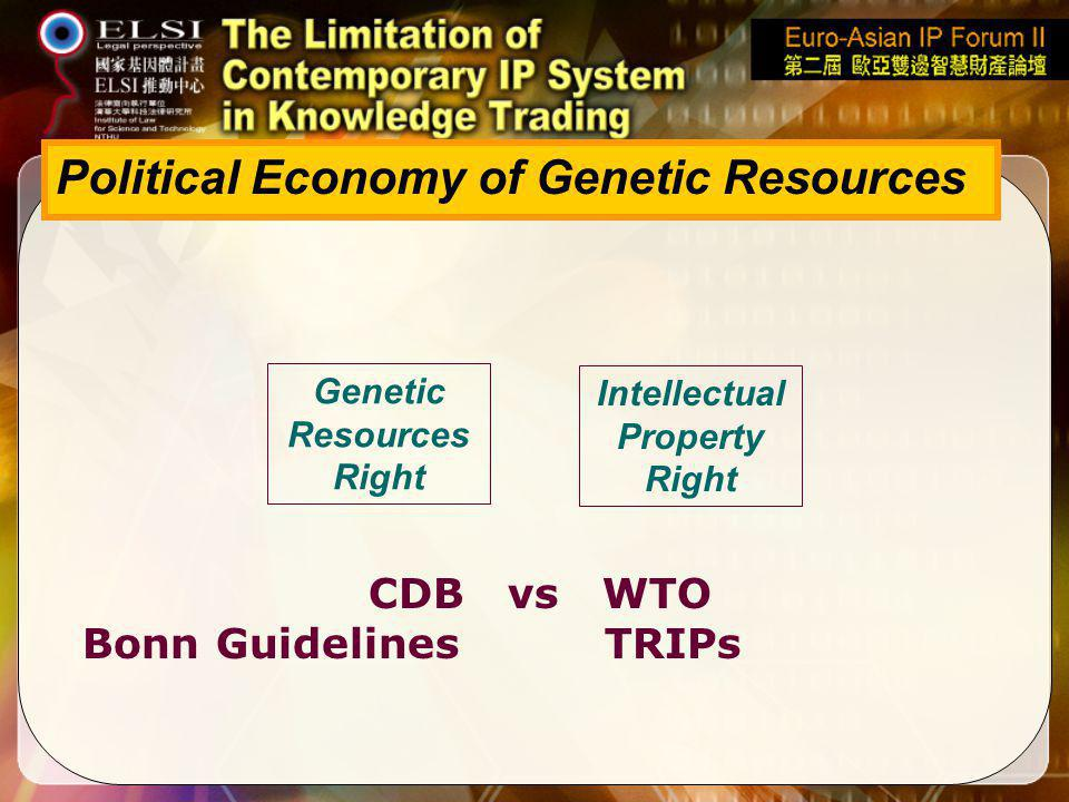 Political Economy of Genetic Resources CDB vs WTO Bonn Guidelines TRIPs Genetic Resources Right Intellectual Property Right