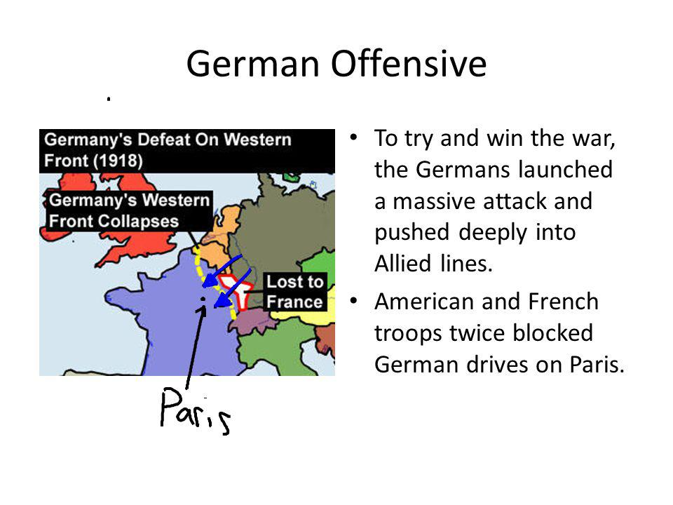 German Offensive To try and win the war, the Germans launched a massive attack and pushed deeply into Allied lines. American and French troops twice b