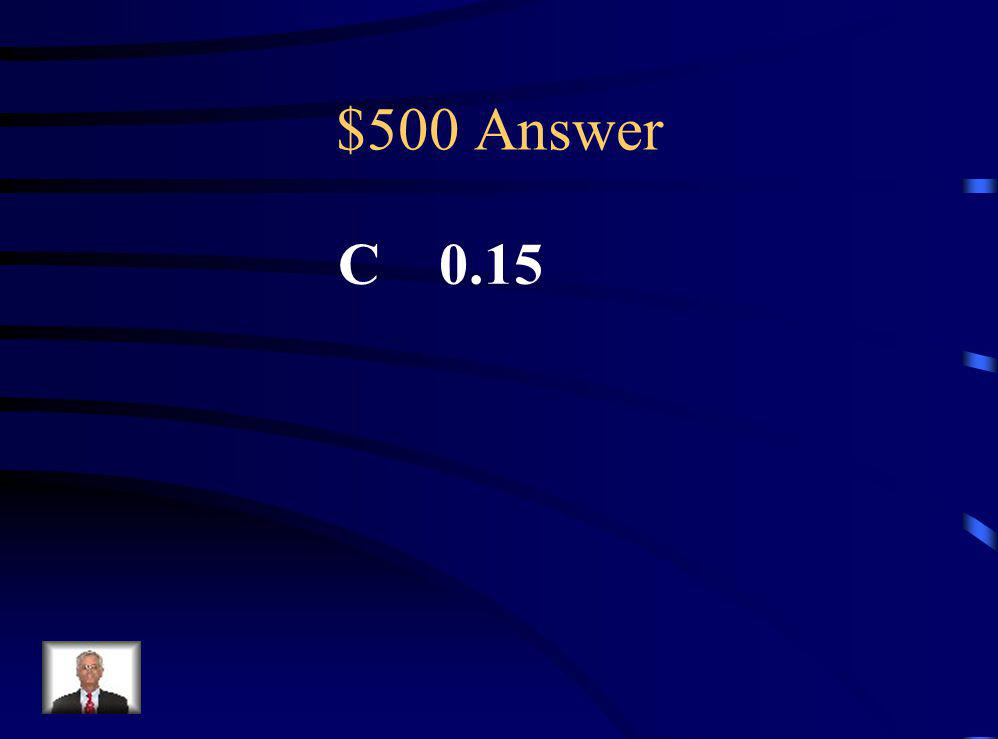 $500 Question Which of the following is greater than 0.04 but less than.3? A.0.46 B. 0.37 C. 0.15 D. 0.02