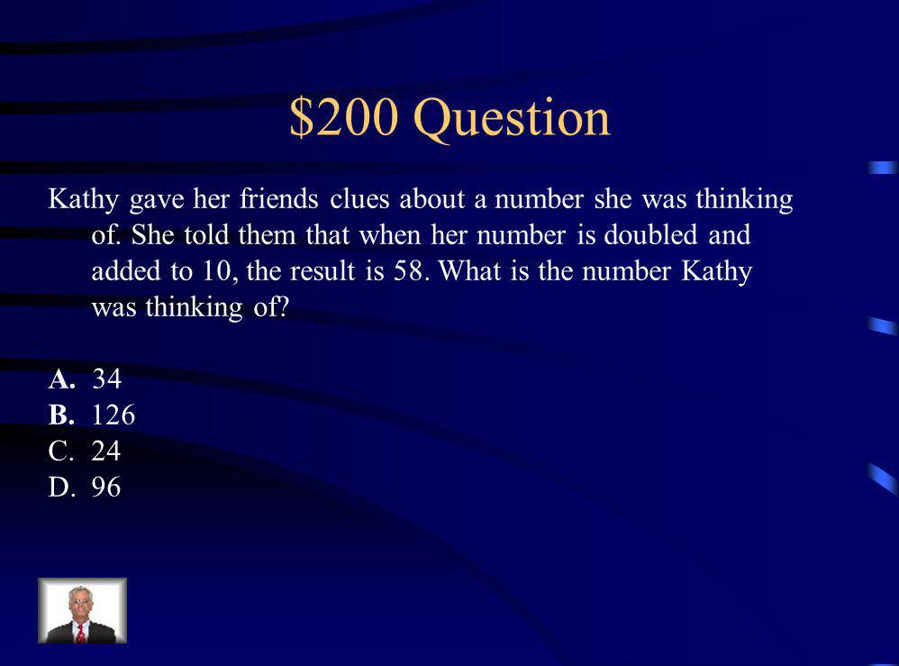 $100 Answer C (20 7) + 6