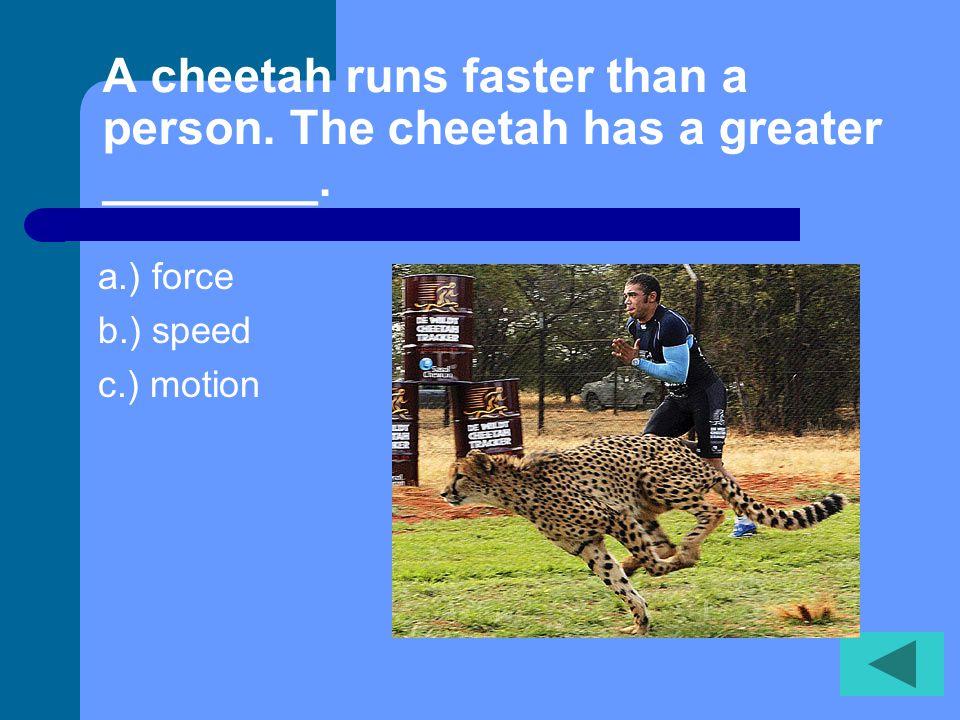 A cheetah runs faster than a person.The cheetah has a greater ________.