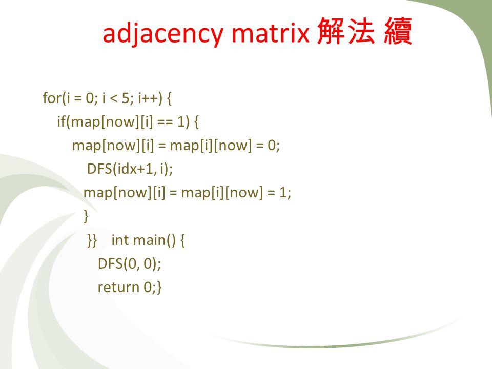 for(i = 0; i < 5; i++) { if(map[now][i] == 1) { map[now][i] = map[i][now] = 0; DFS(idx+1, i); map[now][i] = map[i][now] = 1; } }} int main() { DFS(0, 0); return 0;} adjacency matrix