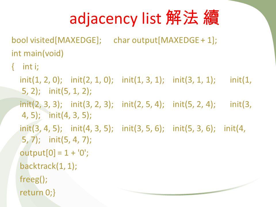 bool visited[MAXEDGE]; char output[MAXEDGE + 1]; int main(void) { int i; init(1, 2, 0); init(2, 1, 0); init(1, 3, 1); init(3, 1, 1); init(1, 5, 2); in