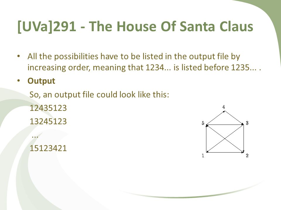 [UVa]291 - The House Of Santa Claus All the possibilities have to be listed in the output file by increasing order, meaning that 1234...