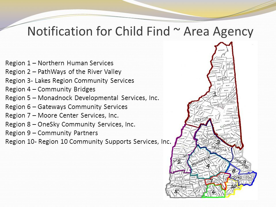 Notification for Child Find ~ Area Agency Region 1 – Northern Human Services Region 2 – PathWays of the River Valley Region 3- Lakes Region Community