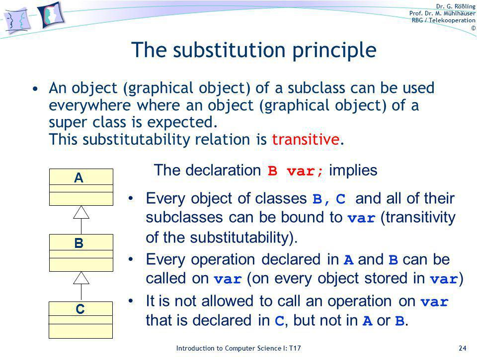 Dr. G. Rößling Prof. Dr. M. Mühlhäuser RBG / Telekooperation © Introduction to Computer Science I: T17 The substitution principle An object (graphical