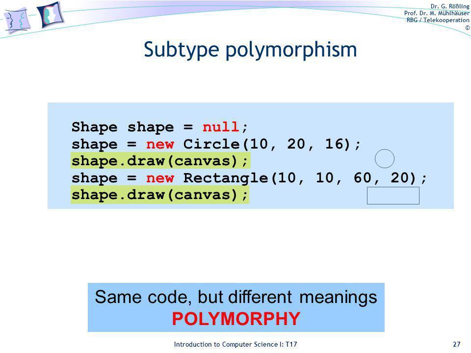 Dr. G. Rößling Prof. Dr. M. Mühlhäuser RBG / Telekooperation © Introduction to Computer Science I: T17 Subtype polymorphism 27 Same code, but differen