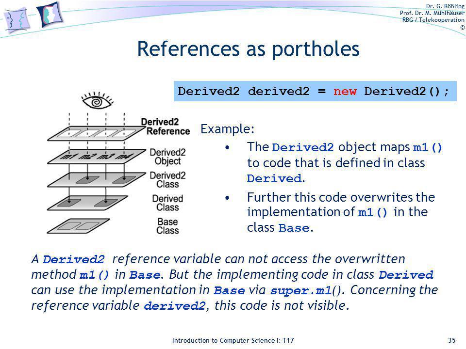 Dr. G. Rößling Prof. Dr. M. Mühlhäuser RBG / Telekooperation © Introduction to Computer Science I: T17 References as portholes 35 Derived2 derived2 =