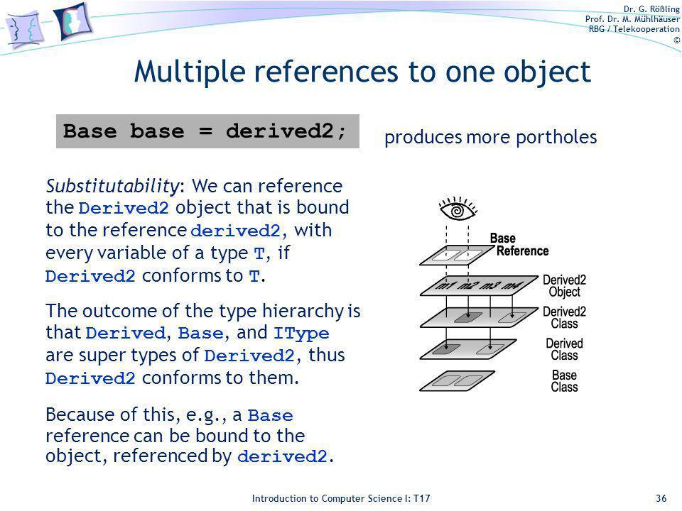 Dr. G. Rößling Prof. Dr. M. Mühlhäuser RBG / Telekooperation © Introduction to Computer Science I: T17 Multiple references to one object 36 Substituta