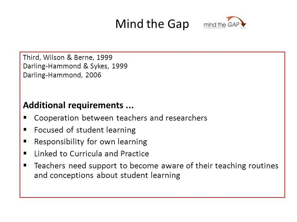 Mind the Gap Third, Wilson & Berne, 1999 Darling-Hammond & Sykes, 1999 Darling-Hammond, 2006 Additional requirements...
