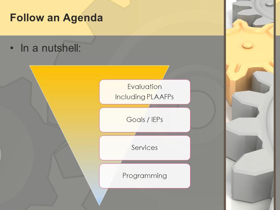 Follow an Agenda In a nutshell: Evaluation Including PLAAFPs Goals / IEPsServicesProgramming